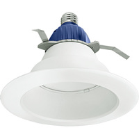 800 Lumens - 6 in. Retrofit LED Downlight - 12W - 65W Equal - 3000 Kelvin - Smooth Baffle Trim - Dimmable - 120V - Cree CR6800L30K12E26