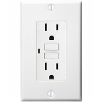 15 Amp Receptacle - GFCI Outlet - 120 Volt - White - Wall Plate Included - NEMA 5-15R