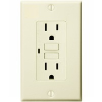 15 Amp Receptacle - GFCI Outlet - 120 Volt - Light Almond - Wall Plate Included - NEMA 5-15R