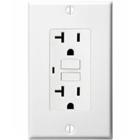 20 Amp Receptacle - GFCI Outlet - 120 Volt - White - Wall Plate Included - NEMA 5-20R