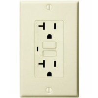 20 Amp Receptacle - GFCI Outlet - 120 Volt - Light Almond - Wall Plate Included - NEMA 5-20R
