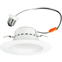 800 Lumens - 5-6 in. Retrofit LED Downlight - 13.5W - 75W Equal - 3000 Kelvin - Stepped Baffle Trim - Dimmable - 120V - Euri Lighting DLC-2000E