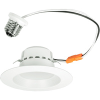 800 Lumens - 4 in. Retrofit LED Downlight - 13W - 75W Equal - 3000 Kelvin - Stepped Baffle Trim - Dimmable - 120V - Euri Lighting DLC4-1000E
