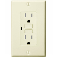 15 Amp Receptacle - Tamper Resistant GFCI Outlet - 120 Volt - Light Almond - Wall Plate Included - NEMA 5-15R