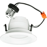 600 Lumens - 4 in. Retrofit LED Downlight - 9W - 50W Equal - 3000 Kelvin - Smooth Baffle Trim - Dimmable - 120V - Halco 83059