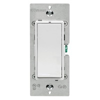 White - 10 Amp Max. - LevNet RF Switch Receiver - Single Pole - Incandescent, FL, and LED - Rocker Switch - Rocker Switch - 120/277 Volt - Leviton WSS20-N9N