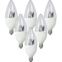 300 Lumens - 5W - 40W Equal - LED Chandelier Bulb - 2700 Kelvin - Clear - Straight Tip - Candelabra Base - Dimmable - 120V - 6 Pack - TCP LDCT5W27K6
