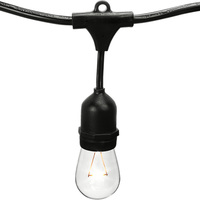 48 ft. - Patio Light Stringer - 15 Sockets - 36 in. Spacing - Black Wire - Male to Female - Connectable up to 4 Strands - LED S14 Vintage Bulbs Included