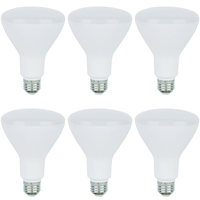 650 Lumens - 3000 Kelvin Halogen White - LED BR30 - 9 Watt - 65W Equal - 120V - 6 Pack