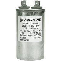 370VAC - Oil Filled Motor Run Capacitor - 25uf - Metal Round Case - Aerovox Z23S3725M01N