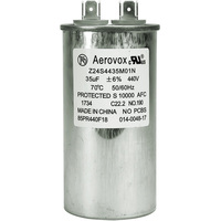 440VAC - Oil Filled Motor Run Capacitor - 35uf - Metal Round Case - Aerovox Z24S4435M01N