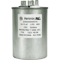 440VAC - Oil Filled Motor Run Capacitor - 40+10uf - Metal Round Case - Aerovox Z26S4450W01N
