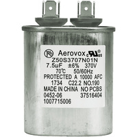 370VAC - Oil Filled Motor Run Capacitor - 7.5uf - Metal Oval Case - Aerovox Z50S3707N01N