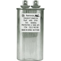 370VAC - Oil Filled Motor Run Capacitor - 15uf - Metal Oval Case - Aerovox Z50S3715M01N