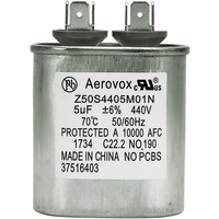 440VAC - Oil Filled Motor Run Capacitor - 5uf - Metal Oval Case - Aerovox Z50S4405M01N
