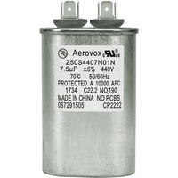 440VAC - Oil Filled Motor Run Capacitor - 7.5uf - Metal Oval Case - Aerovox Z50S4407N01N