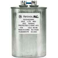 480VAC - Oil Filled Capacitor for HID Lighting - 28uf - Metal Oval Case - Aerovox Z93S4828MN