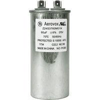 370VAC - Oil Filled Motor Run Capacitor - 60uf - Metal Round Case - Aerovox Z24S3760M01N
