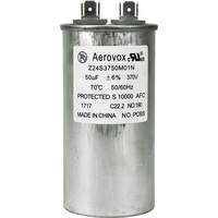 370VAC - Oil Filled Motor Run Capacitor - 50uf - Metal Round Case - Aerovox Z24S3750M01N