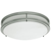 14 in. Dia. LED Flush Mount Ceiling Fixture - Halogen White - 22 Watt - Brushed Nickel/White Plastic - Energy Star Qualified - 120V - Euri Lighting EC14-2000e