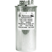 440VAC - Oil Filled Motor Run Capacitor - 35+5uf - Metal Round Case - Aerovox Z24S4440W01N