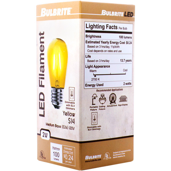 Yellow - 2 Watt - LED - S14 Image