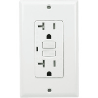 20 Amp Receptacle - Tamper Resistant GFCI Outlet - 120 Volt - White - Wall Plate Included - NEMA 5-20R