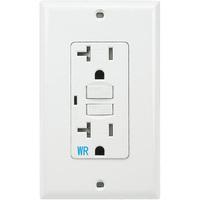 20 Amp Receptacle - Weather and Tamper Resistant GFCI Outlet - 120 Volt - White - Wall Plate Included - NEMA 5-20R