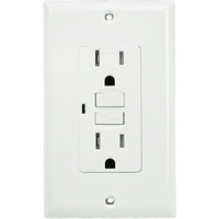 15 Amp Receptacle - Tamper Resistant GFCI Outlet - 120 Volt - White - Wall Plate Included - NEMA 5-15R