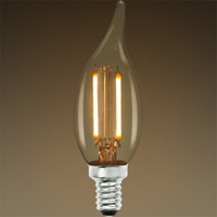 200 Lumens - 2 Watt - 25W Equal - LED Chandelier Bulb - Vertical Filament - 2700 Kelvin - Clear - Bent Tip - Candelabra Base - Dimmable - 120V