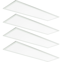 3600 Lumens - 1x4 Ceiling LED Panel Light - 36 Watt - 3500 Kelvin - Opaque Smooth Lens - DLC Premium 4.2 - 4 Pack - 5 Year Warranty