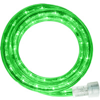 LED - 24 ft. - Rope Light - Green - 120 Volt - Includes Easy Installation Kit - Clear Tubing with Green LEDs - Signature LED-13MM-GR-24KIT