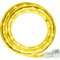 LED - 30 ft. - Rope Light - Yellow - 120 Volt - Includes Easy Installation Kit - Clear Tubing with Yellow LEDs - Signature LED-13MM-YE-30KIT