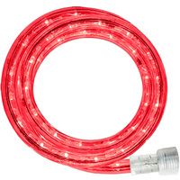 LED - 30 ft. - Rope Light - Red - 120 Volt - Includes Easy Installation Kit - Clear Tubing with Red LEDs - Signature LED-13MM-RE-30KIT