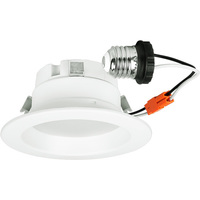 650 Lumens - 4 in. Retrofit LED Downlight - 10W - 50W Equal - 3000 Kelvin - Smooth Baffle Trim - Dimmable - 120V - Halco 99634
