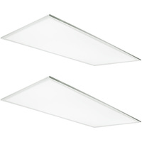 5800 Lumens - 4000 Kelvin Cool White - 50 Watt - 2x4 Ceiling LED Panel Light - Equal to a 3-Lamp T8 Fluorescent Troffer - Opaque Smooth Lens - 90 Minute Emergency Backup - 2 Pack - 5 Year Warranty