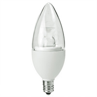 325 Lumens - 4.5 Watt - 40W Equal - LED Chandelier Bulb - 3000 Kelvin - Clear - Straight Tip - Candelabra Base - Dimmable - 120V