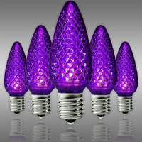 C9 LED - Purple - Faceted Finish - Christmas Light Replacement Bulbs - Intermediate Base - Pack of 25