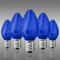 LED C7 - Blue - Candelabra Base - Faceted Finish - 50,000 Life Hours - LED Retrofit Bulb - 120 Volt - Pack of 25