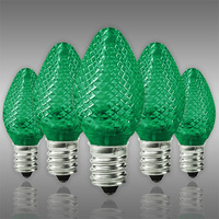 LED C7 - Green - 0.6 Watt - Candelabra Base - Faceted Finish - 50,000 Life Hours - LED Retrofit Bulb - 120 Volt - Pack of 25