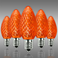 LED C7 - Orange - 0.6 Watt - Candelabra Base - Faceted Finish - 50,000 Life Hours - LED Retrofit Bulb - 120 Volt - Pack of 25