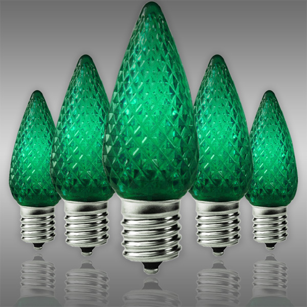 LED C9 - Green - 0.66 Watt - Intermediate Base - Faceted Finish Image - Green C9 LED Replacement Bulbs 25 Pack