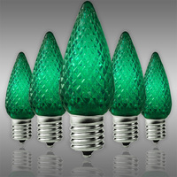 C9 LED - Green - Faceted Finish - Christmas Light Replacement Bulbs - Intermediate Base - Pack of 25
