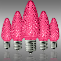 C9 LED - Pink - Faceted Finish - Christmas Light Replacement Bulbs - Intermediate Base - Pack of 25