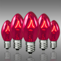 25 Pack - C7 - Twinkling Transparent Pink - Double Dipped - 7 Watt - Christmas Light Replacement Bulbs -Candelabra Base - 130 Volt
