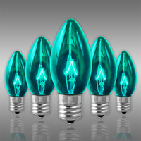25 Pack - C9 - Transparent Teal - Double Dipped - 7 Watt - Christmas Light Replacement Bulbs - Intermediate Base - 130 Volt