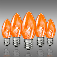C7 - Transparent Amber - Candelabra Base  -  7 Watt - Double Dipped - Christmas light Replacement Bulbs - 130 Volt - 25 Pack
