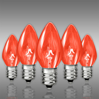 C7 - Transparent Burnt Amber - Candelabra Base  -  5 Watt - Triple Dipped - Christmas Light Replacement Bulbs - 130 Volt - 25 Pack