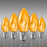 25 Pack - C9 - Transparent Amber - Triple Dipped - 7 Watt - Christmas Light Replacement Bulbs - Intermediate Base - 130 Volt