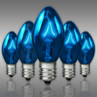 C7 - Transparent Blue - Candelabra Base  -  5 Watt - Triple Dipped - Christmas Light Replacement Bulbs - 130 Volt - 25 Pack